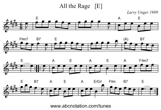 All the Rage   [E] - staff notation