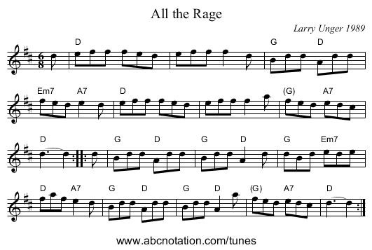 All the Rage - staff notation