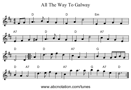 All The Way To Galway - staff notation
