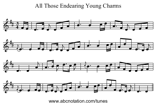 All Those Endearing Young Charms - staff notation