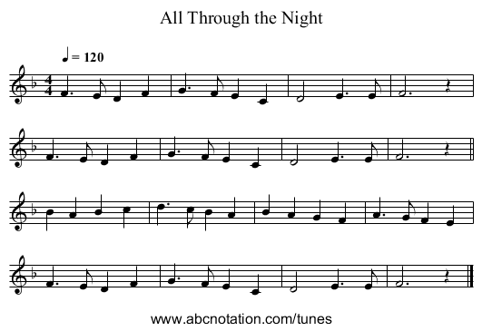 All Through the Night - staff notation