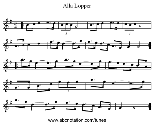 Alla Lopper - staff notation