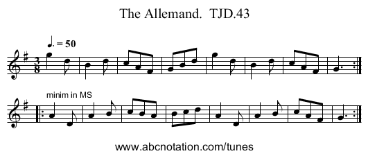 Allemand.  TJD.43, The - staff notation