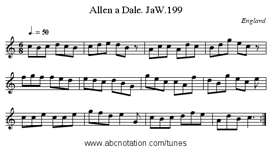 Allen a Dale. JaW.199 - staff notation