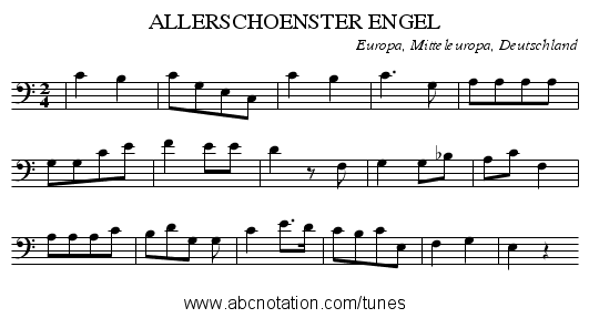 ALLERSCHOENSTER ENGEL - staff notation