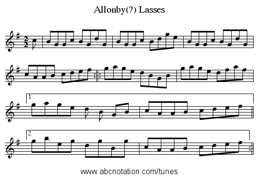 Allonby(?) Lasses - staff notation