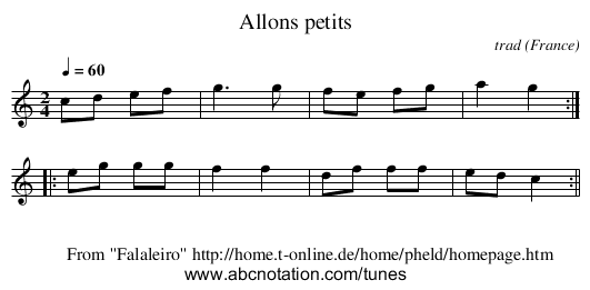 Allons petits - staff notation