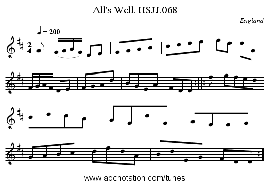 All's Well. HSJJ.068 - staff notation