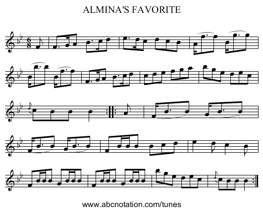 ALMINA'S FAVORITE - staff notation