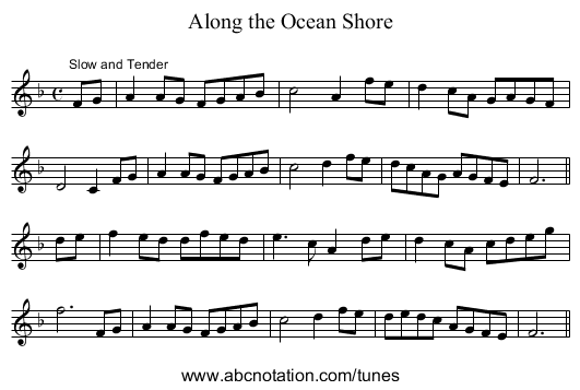 Along the Ocean Shore - staff notation