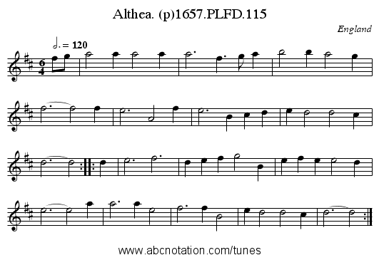 Althea. (p)1657.PLFD.115 - staff notation