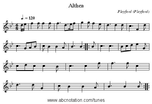 Althea - staff notation
