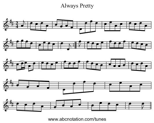 Always Pretty - staff notation