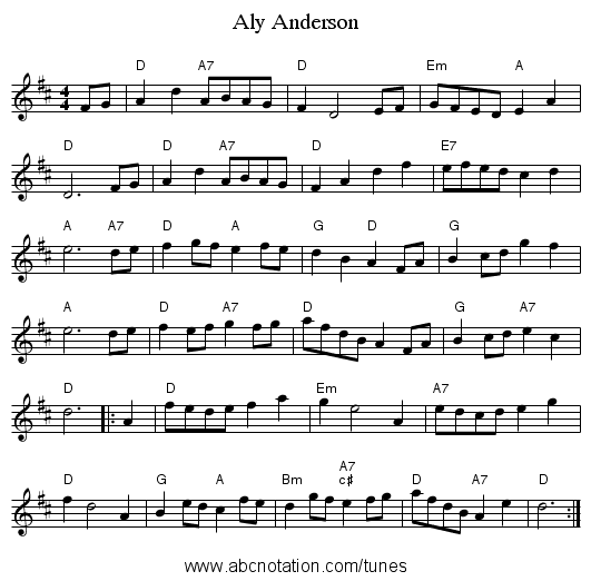 Aly Anderson - staff notation