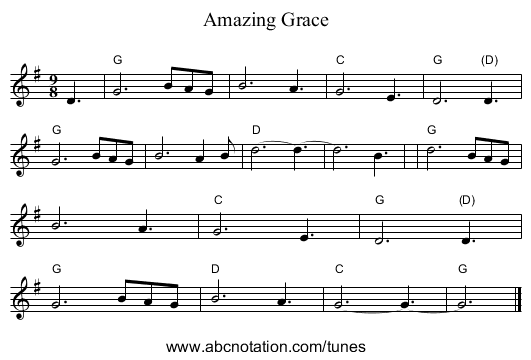 Amazing Grace - staff notation
