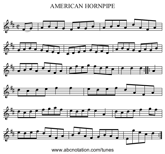 AMERICAN HORNPIPE - staff notation
