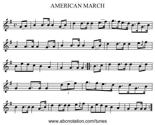 AMERICAN MARCH - staff notation