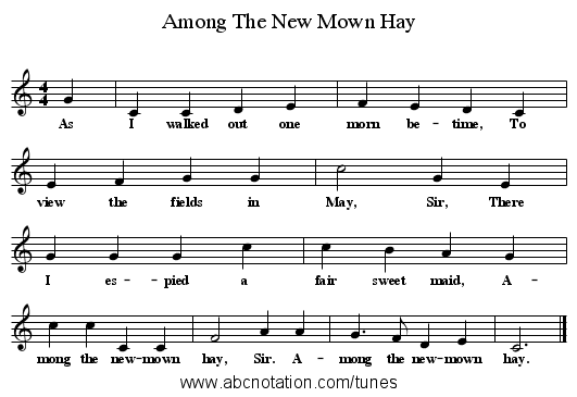 Among The New Mown Hay - staff notation