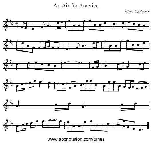 An Air for America - staff notation