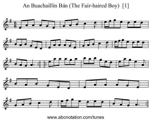 An Buacaill Ban - staff notation
