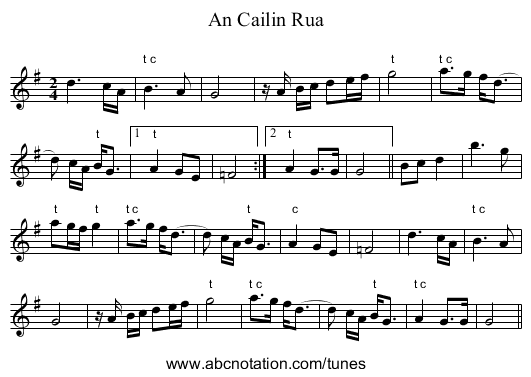 An Cailin Rua - staff notation