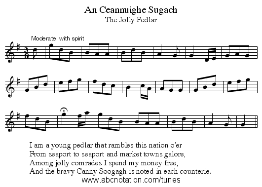 An Ceannuighe Sugach - staff notation