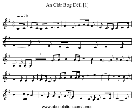 An Clár Bog Déil [1] - staff notation