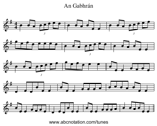 An Gabhrán - staff notation