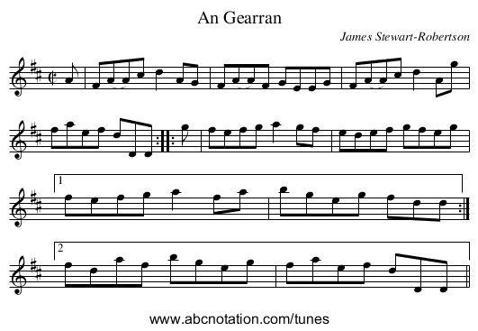 An Gearran - staff notation