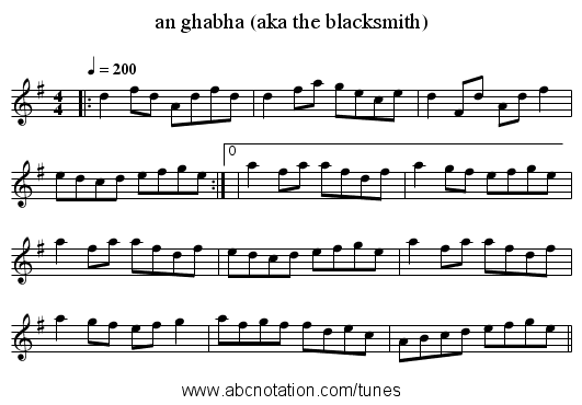 an ghabha (aka the blacksmith) - staff notation