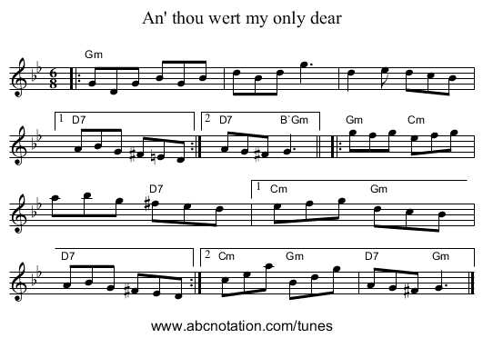 An' thou wert my only dear - staff notation