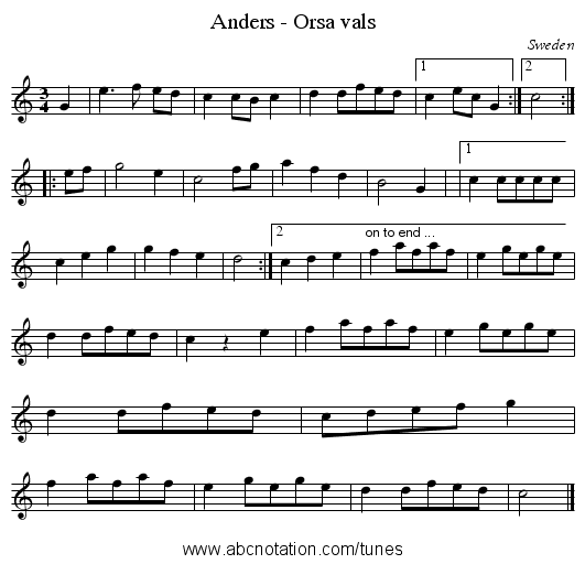 Anders - Orsa vals - staff notation