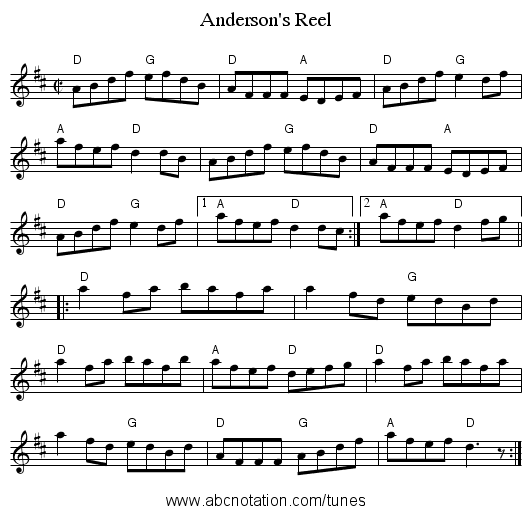 Anderson's Reel - staff notation