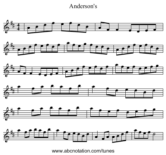 Anderson's - staff notation