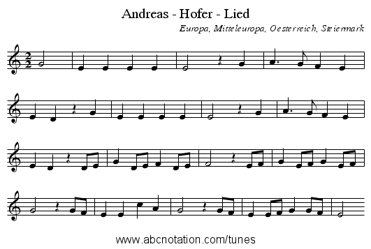 Andreas - Hofer - Lied - staff notation