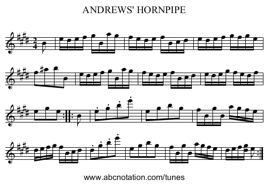 ANDREWS' HORNPIPE - staff notation
