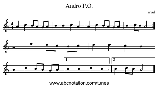 Andro P.O. - staff notation