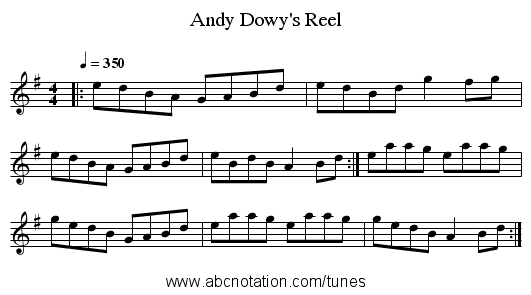 Andy Dowy's Reel - staff notation