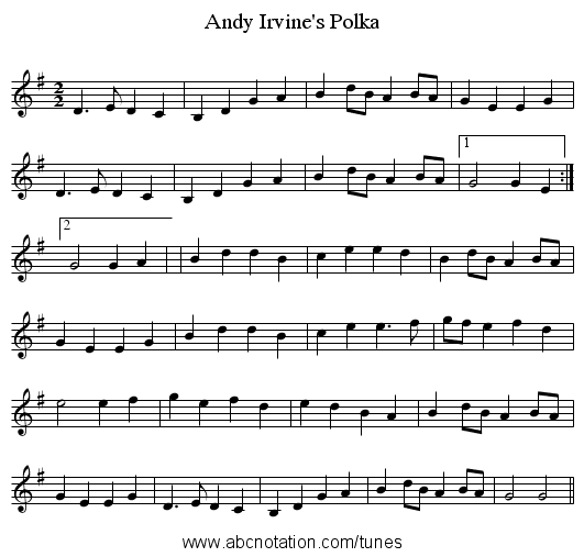 Andy Irvine's Polka - staff notation
