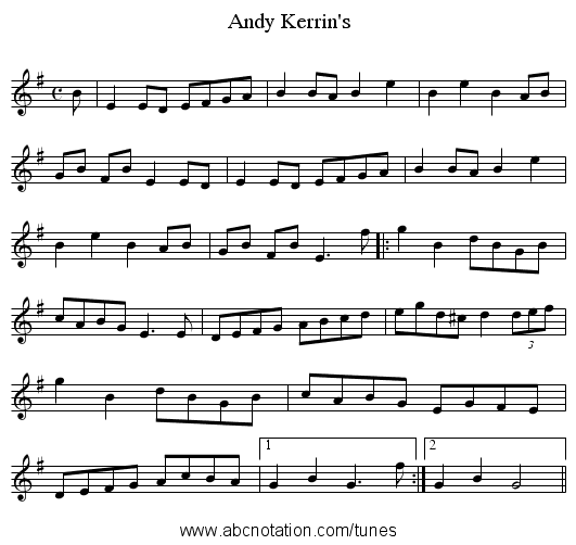 Andy Kerrin's - staff notation