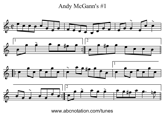 Andy McGann's #1 - staff notation