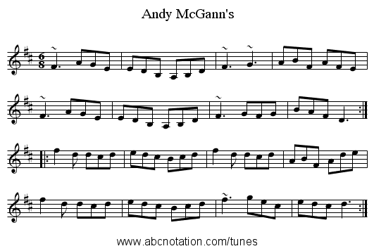 Andy McGann's - staff notation
