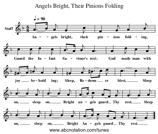 Angels Bright, Their Pinions Folding - staff notation