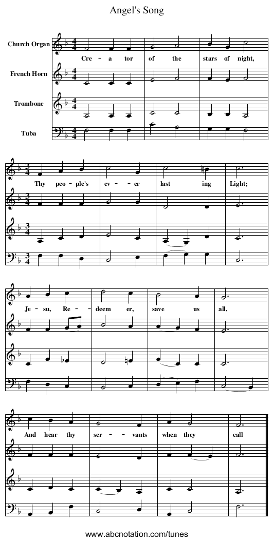 Angel's Song - staff notation