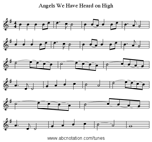 Angels We Have Heard on High - staff notation