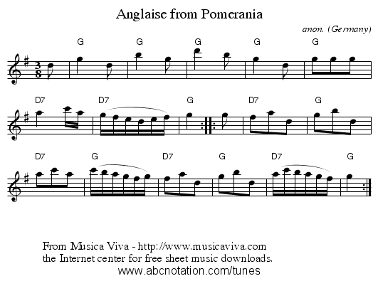 Anglaise from Pomerania - staff notation