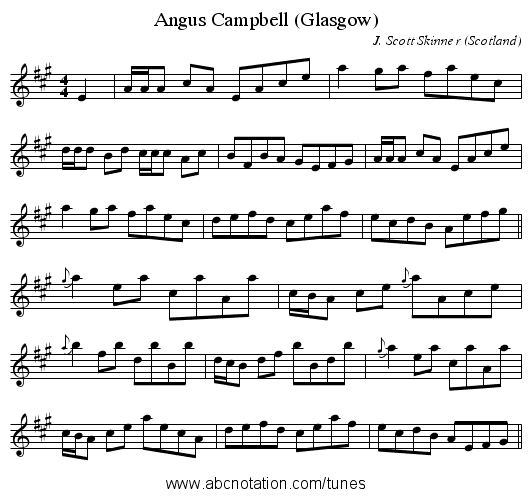 Angus Campbell (Glasgow) - staff notation