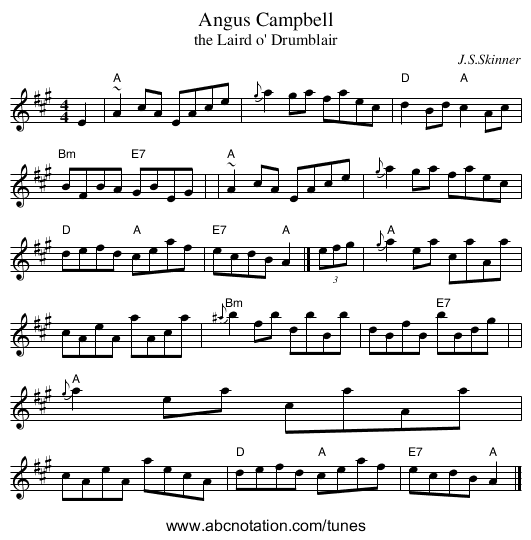 Angus Campbell - staff notation
