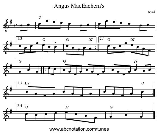 Angus MacEachern's - staff notation