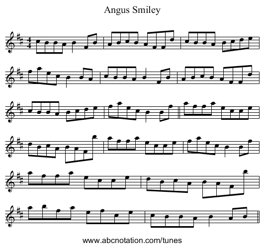 Angus Smiley - staff notation